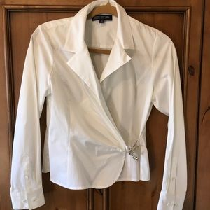 Jones New York Signature Petite White Wrap Shirt